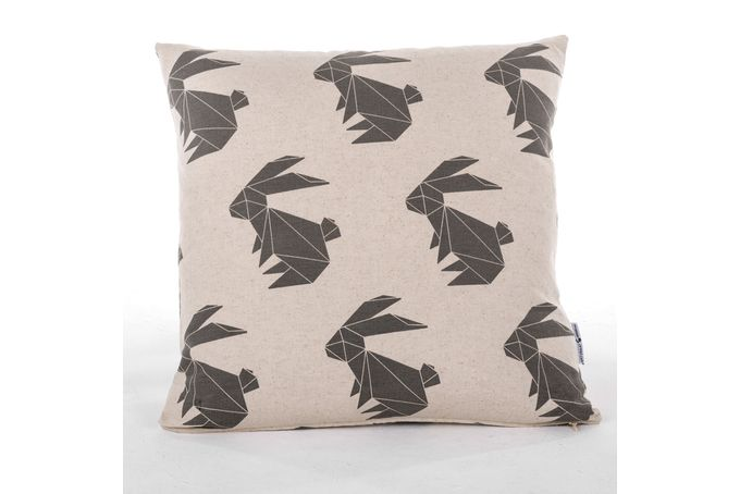 Charcoal Origami Rabbit Scatter Cushion by ArtVraat Designs