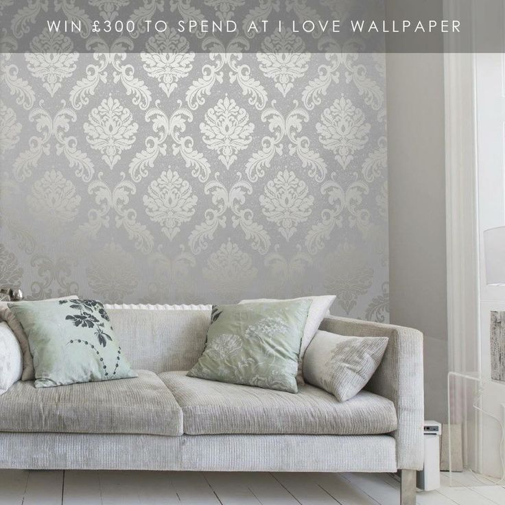 Wallpaper house pinterest wallpaper walls and bedrooms for Silver accent wallpaper
