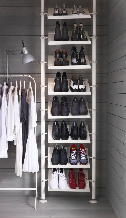 IKEA bedroom storage - Organize your messy pile of shoes into neat rows with a floor-to-ceiling shoe rack made with the STOLMEN system.
