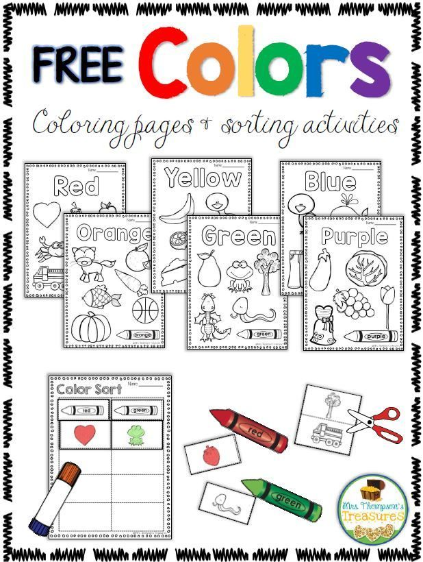 free color activities coloring pages sorting - Color Activity For Kindergarten