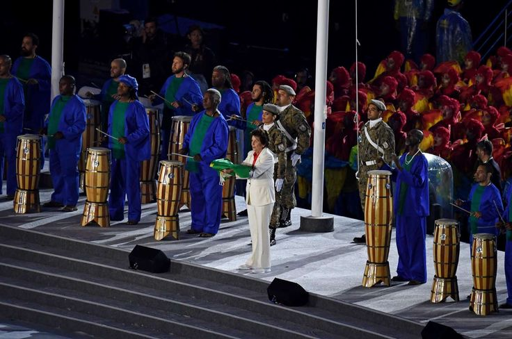 The Brazil flag is presented during the closing ceremonies for the Rio 2016…  -   2016 Rio Olympics closing ceremony:  August 21, 2016