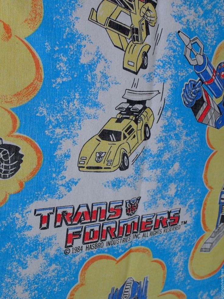 Transformers Twin Size Bed Sheets Flat Fitted NO Pillow Case Vintage 1984  Hasbro #Hasbro
