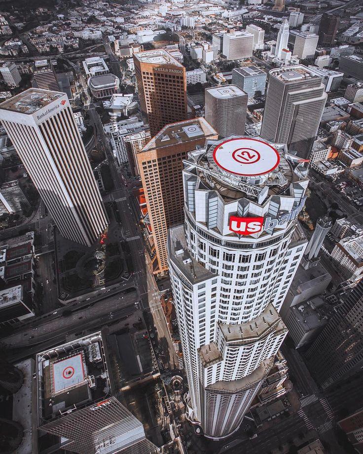 The Us Bank Tower by @DtlaJay #lostinla #losangelesaerial #copterpilot #usbanktower @MaverickHelicopters (at Skyspace Los Angeles)