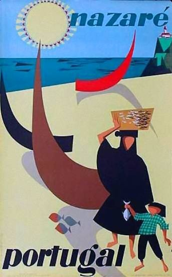 Nazaré, Portugal | Vintage Travel Poster | http://defharo.com/retro-posters-afiches-viajes/