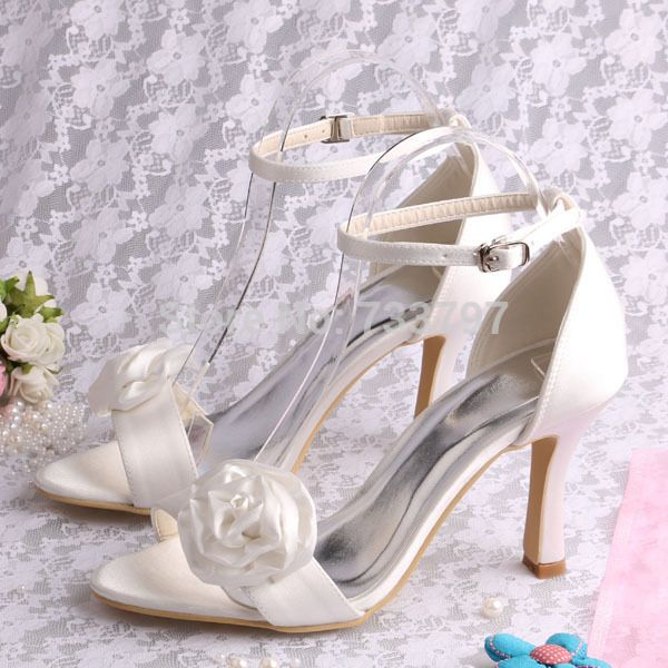 Brand Magic Bride 2014 Women Flower Sandals Ivory Satin Wedding Summer Shoes 9Cm