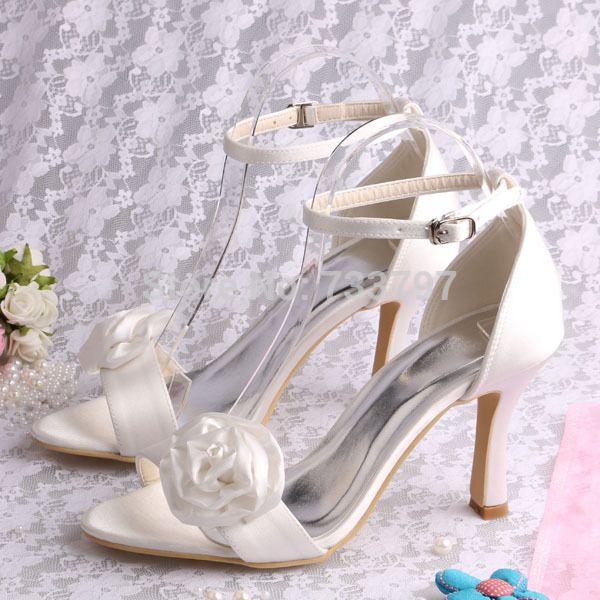 Марка 2016 Женщины Цветочные Сандалии Атласа Цвета Слоновой Кости Свадебные Летняя Обувь 9 СМ