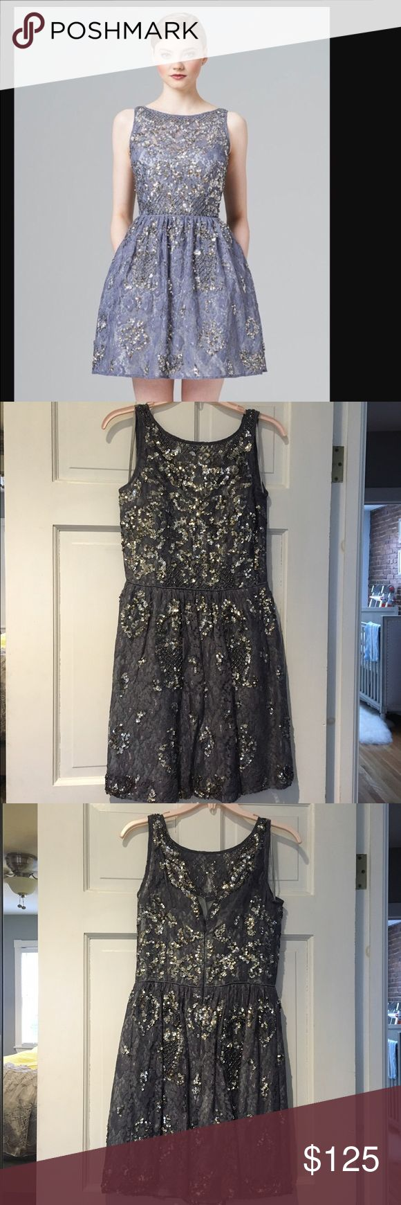 Aidan Mattox Charcoal/Blue Sequin Dress - size 2 Aidan Mattox Charcoal/Blue Sequin Dress - size 2 only worn once and in perfect condition! Aidan Mattox Dresses