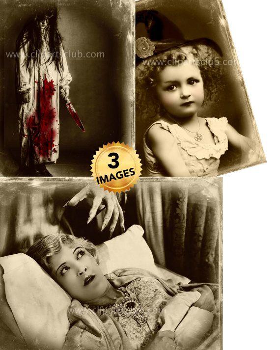 Cruento omicidio coltello ragazza bella piccola ragazza strega strisciante demone Vintage foto rifatto come stampe digitali & stampabili di ClipArt di Halloween