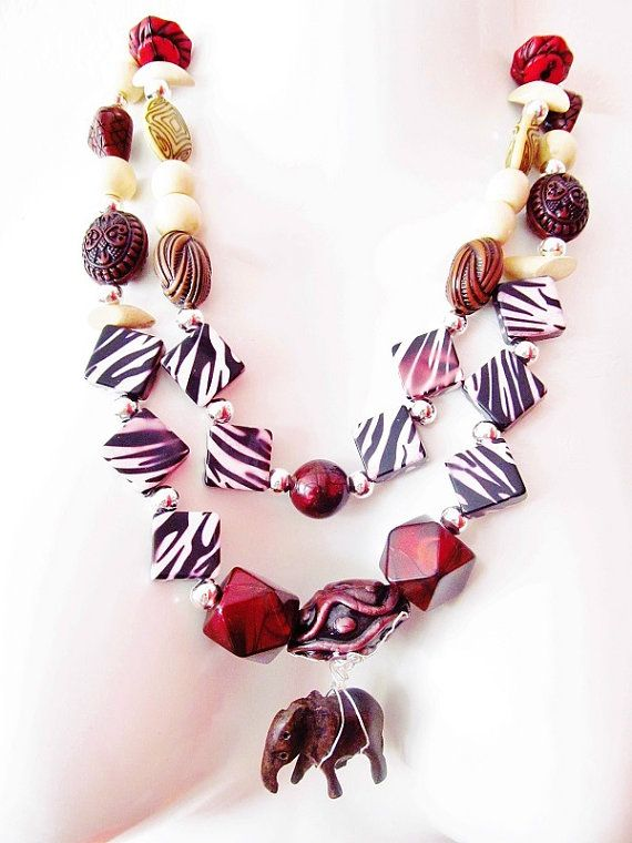Out Of Africa Necklace, 2-string statement necklace, spirit of the Okavango Delta, beaded.