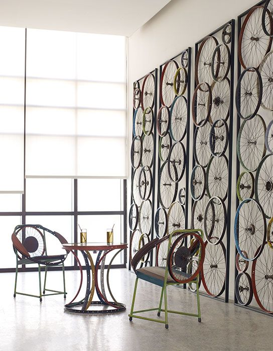 Phillips Collection - Bicycle wheel panel, chair and side table