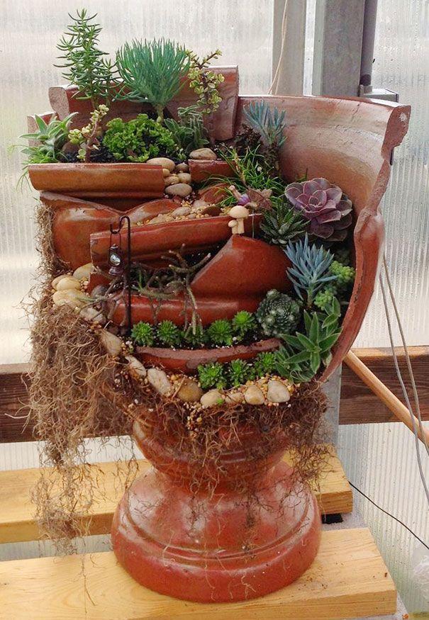 jardins miniatures dans des pots casses 12   Des jardins dans des pots cassés   pot photo miniature jardin image casse bricolage