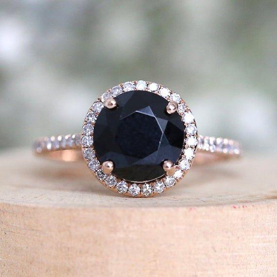 Unique Handmade Black Spinel Engagement Ring 8mm Round Spinel Etsy In 2020 Black Diamond Engagement Ring Halo Black Onyx Engagement Ring Black Diamond Engagement