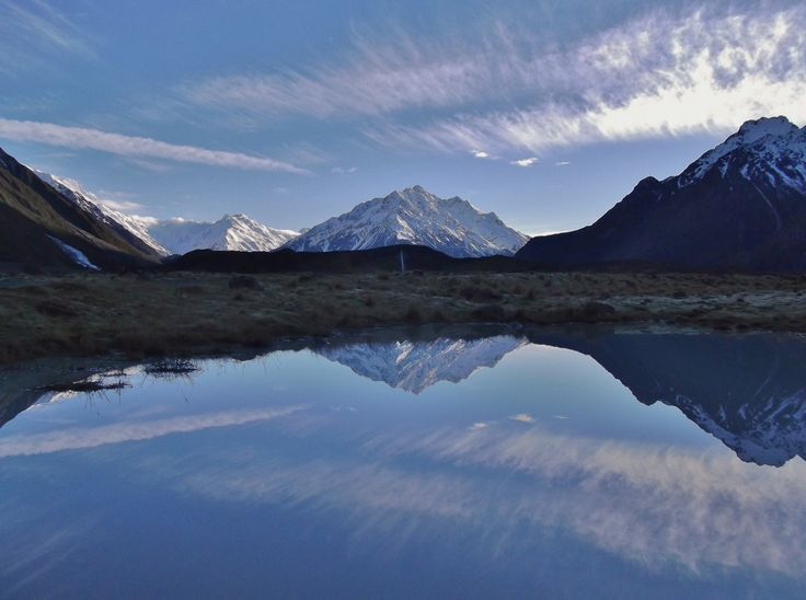 Reflections in a puddle. Mt Malte Brun in the Tasman Valley, near Mt Cook, New Zealand - by Jon Reid