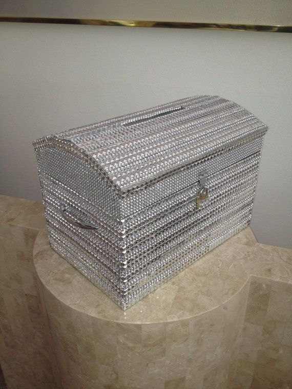 Silver Bling Wood Treasure Chest Keepsake Money by DreamOnBridal, $145.00