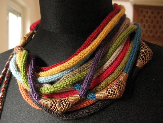 Necklace rainbow with african bronze beads by woolart69 on Etsy, $92.00