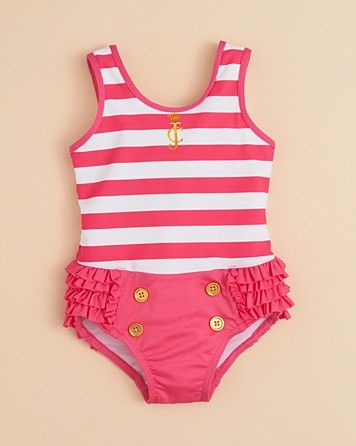 Juicy Couture Infant Girls' Pink Ruffle Stripe Swimsuit - Sizes 3-24 Months | Bloomingdale's