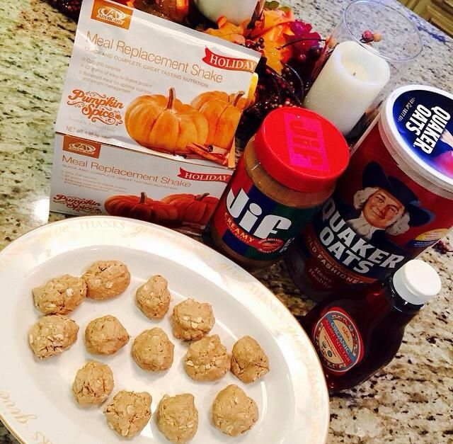 Pumpkin Spice Clusters: 1 Advocare Pumpkin Spice Meal Replacement Shake Packet, 3/4 Cup peanut butter, 4Tbs Agave, 1 Cup oats!!! http://www.advocare.com/150850874