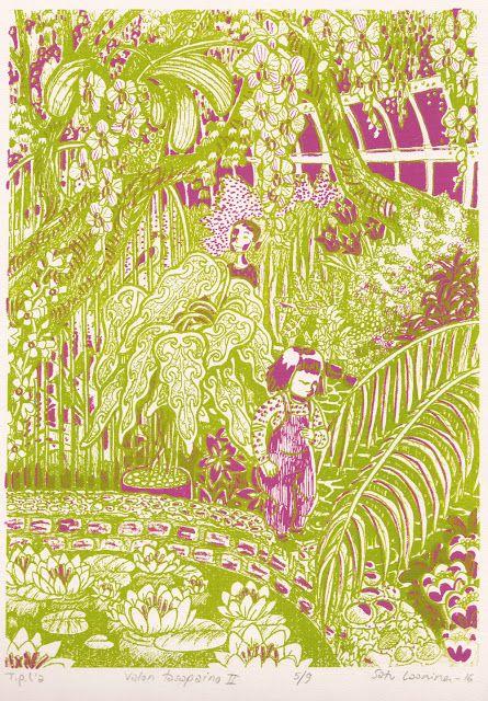 "Silk-screen print, serigrafia, ""Valon tasapaino II"" by Satu Laaninen 2016"