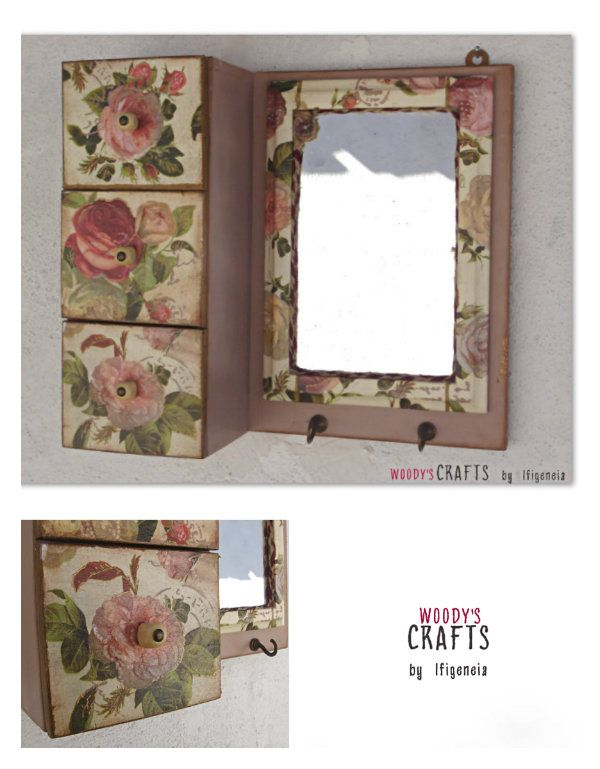 Handmade wooden wall mirror with 3 drawers on it for storage | Decor made with the art of decoupage | Wooden item made by: @woodysgr