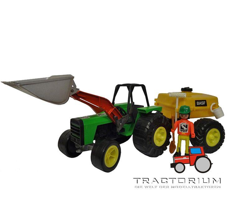 MS Toy 5879 Traktor mit Frontlader und Fassanhänger ca. 1/16