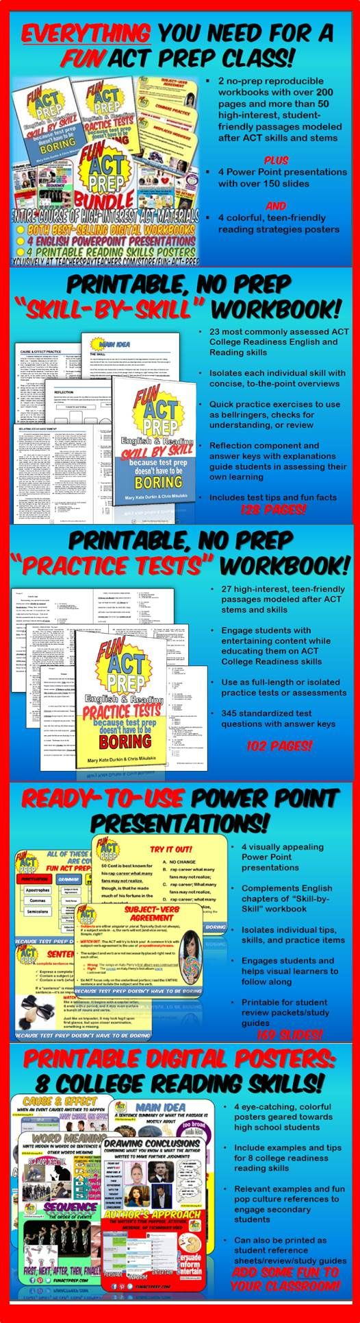 EVERYTHING you need for an ACT prep class that's FUN! Over 200 pages plus presentations and posters!