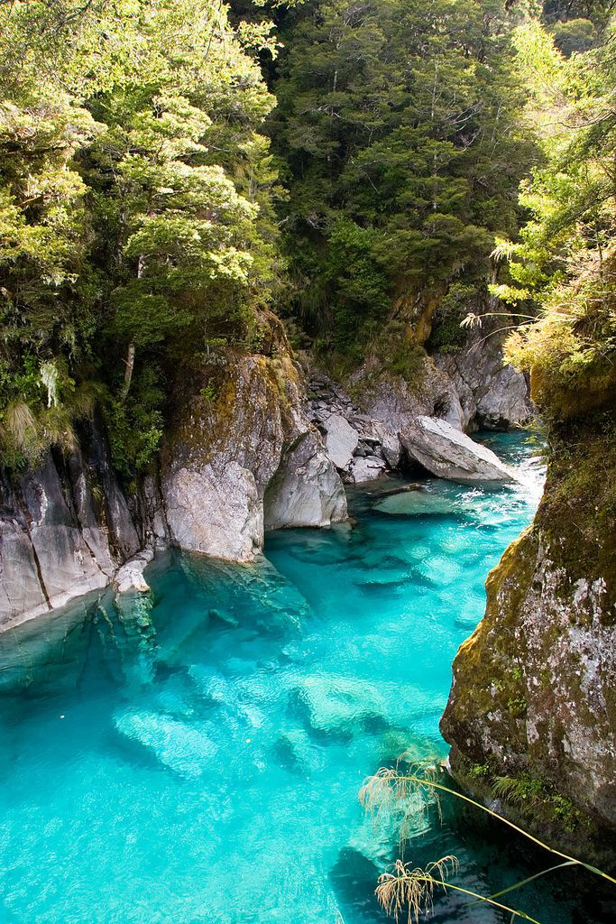 "The ""Blue Pools"" were one of the mini hikes I did on the way from Franz Josef glacier to Queestown. Yes, the water really is this color -- And unbelievably clear. The glacial water you find in much of the South Island of New Zealand has a fine silt in it that gives the water its amazing color."