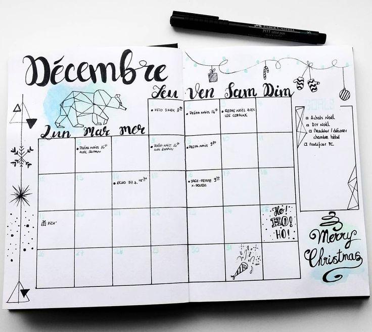 "99 mentions J'aime, 14 commentaires - Virginie (@french_dreamer_life_lover) sur Instagram: ""Planning décembre  #monthlylog #decembre  #december  #hellodecember  #hellodecembre #bulletjournal…"""