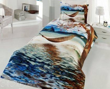 Купить постельное белье из ранфорса ГАМАК НАД МОРЕМ 3D Digital 1,5-сп от производителя Virginia Secret (Турция)