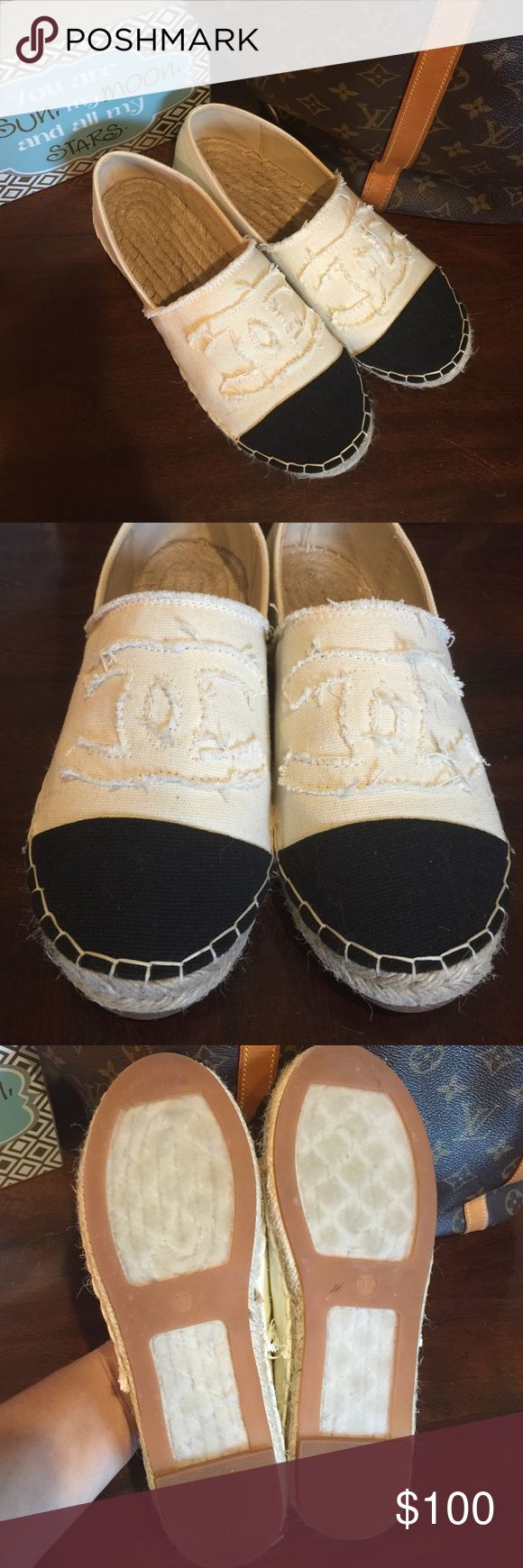 Cream/Black Espadrilles Excellent condition. Only worn twice for small periods of time. Off white and black. Size 37 on the sole but they fit like true 6/6.5. They look like the Chanel espadrilles but they aren't. Reasonable offers considered! Shoes Espadrilles