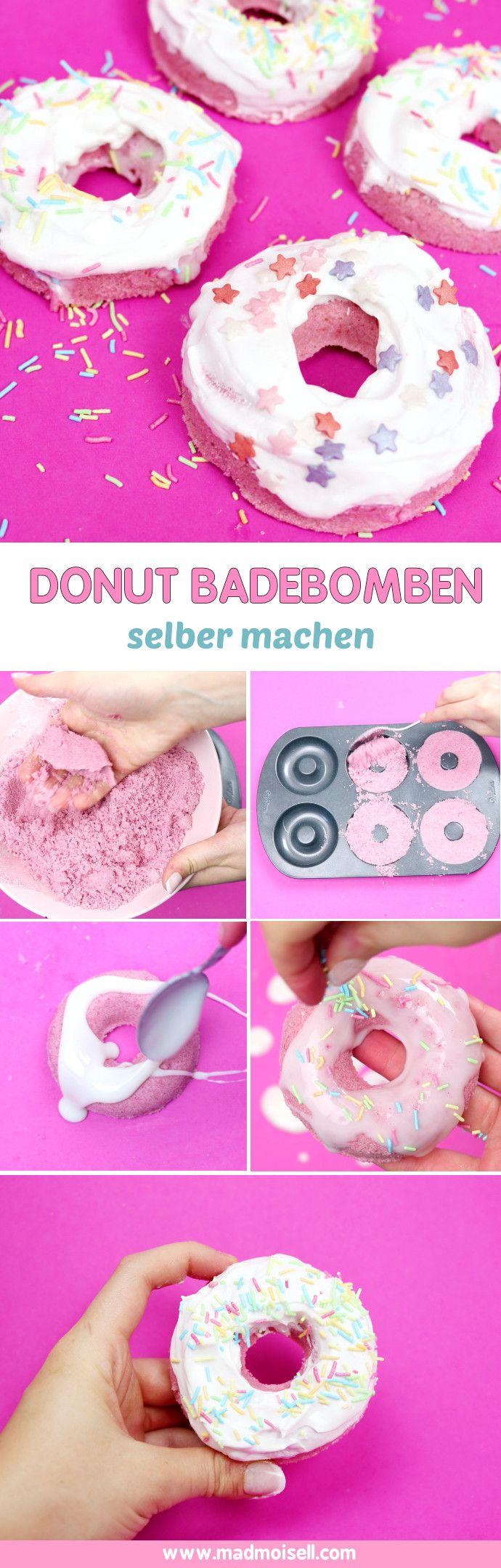 Badebomben lassen sich in jeder erdenklichen Form selber machen, z.B. als Donut! Die Donut Badebomben eignen sich super als DIY Geschenk – probier es aus!