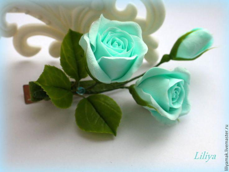 Купить бутоны роз бирюзовые (Тиффани) - бирюзовый, бутоны роз, цветы ручной работы
