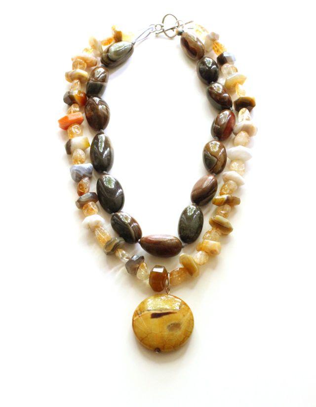 Mixed Jasper Necklace: Jasper pendant, Raw Citrine, Agate, Petrified Wood Jasper