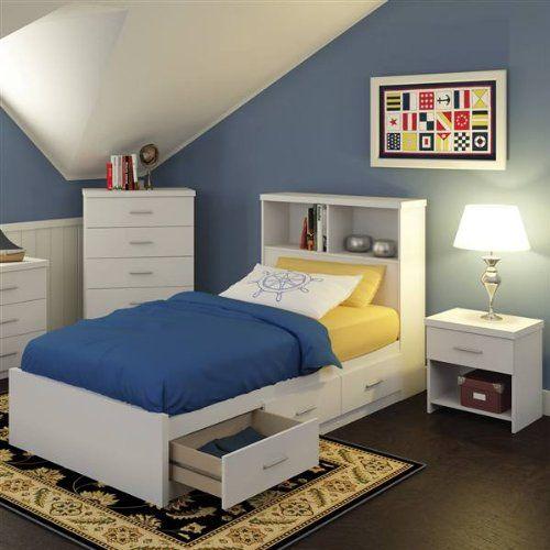 Sonax 5s 011 Lwb Single Storage 3 Piece Bed Set With Bookcase Headboard
