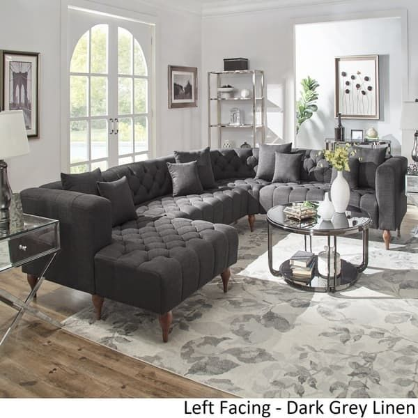 Danise Tufted Linen Upholstered Tuxedo Arm U Shaped Sectional With