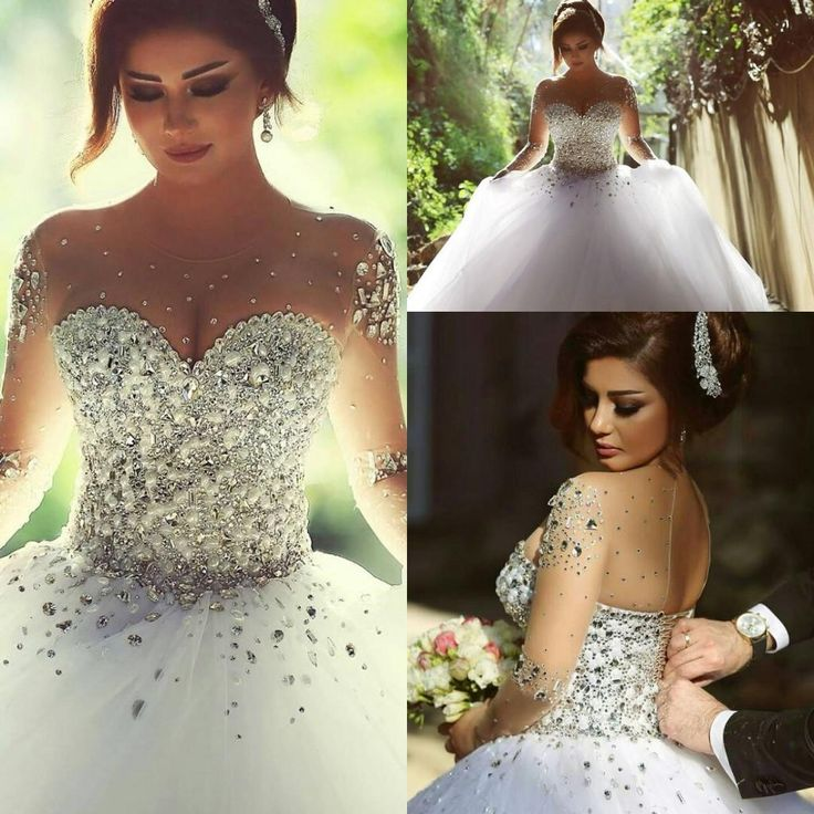 2015 Vestidos De Noiva Casamento Sheer Long Sleeve Princess Ball Gown Wedding Dresses 2016 Crystal Pearls