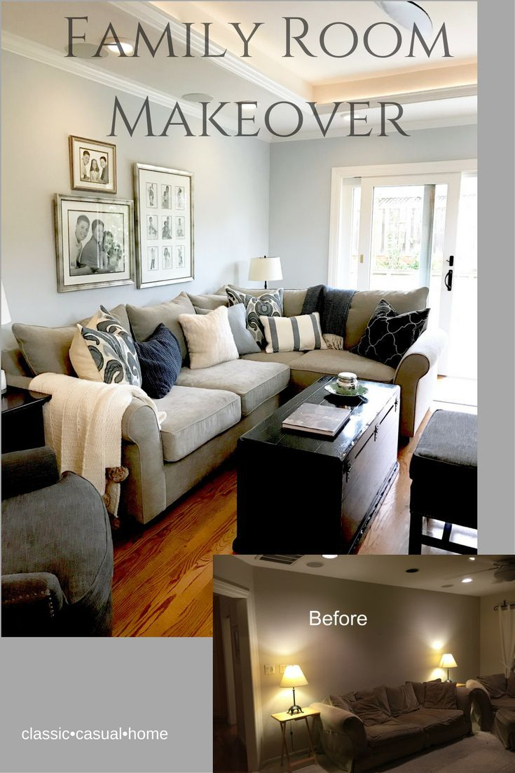 Blue And Gray Family Room Makeover
