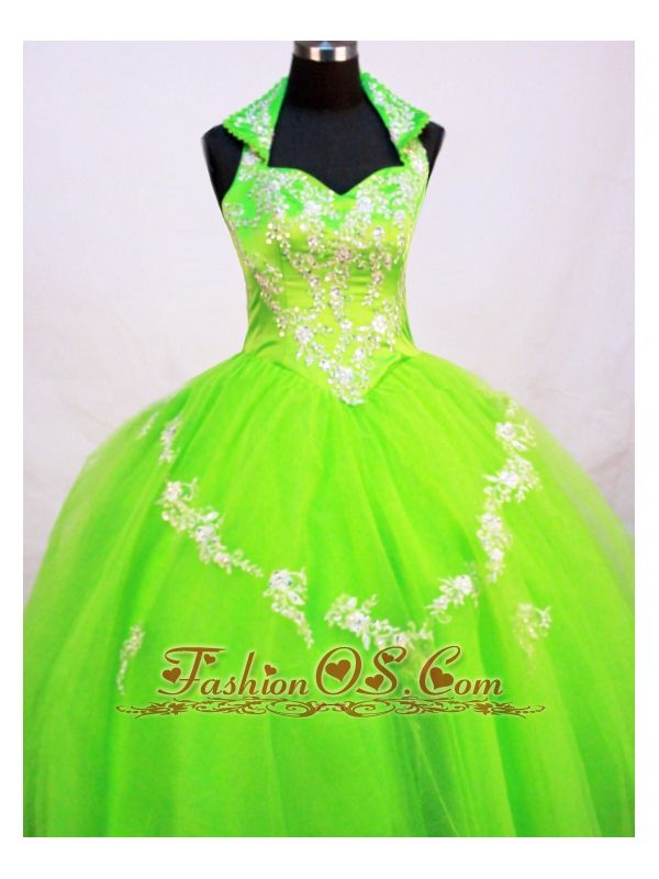 Fashionable Little Girl Pageant Dresses With Halter Top and Spring Green  http://www.fashionos.com  This Shimmer designer little girl dress has an understated elegance that is perfect for your prom. The special neck gives the dress a elegant felling. This kind of dress is also available in any other solor as you wish.