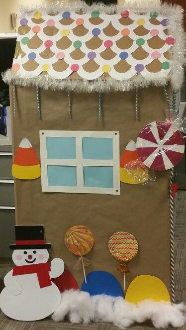Office cubicle Gingerbread house christmas decorations candy land