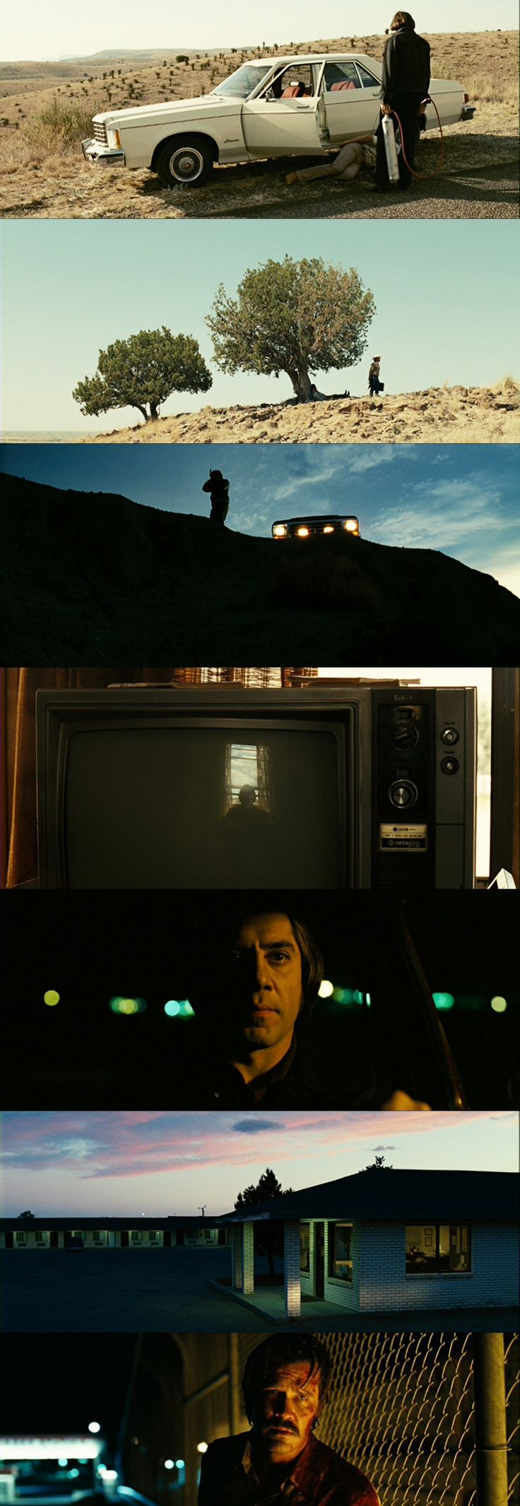 No Country For Old Men - Cinematography by Roger Deakins | Directed by Ethan Coen, Joel Coen. Javier Bardem relentless chilling killer ~ all compressor gun and haircut.