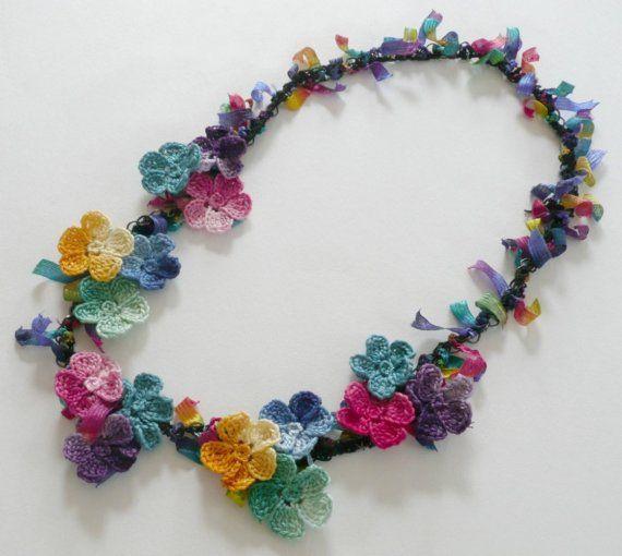 Frida Kahlo collar flores Crochet cadena colorida cinta de algodón