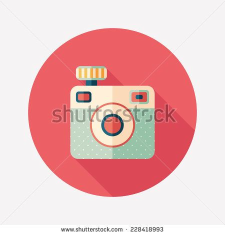 Hipster camera flat round icon with long shadows. #retro #retroicons #flaticons #vectoricons #flatdesign