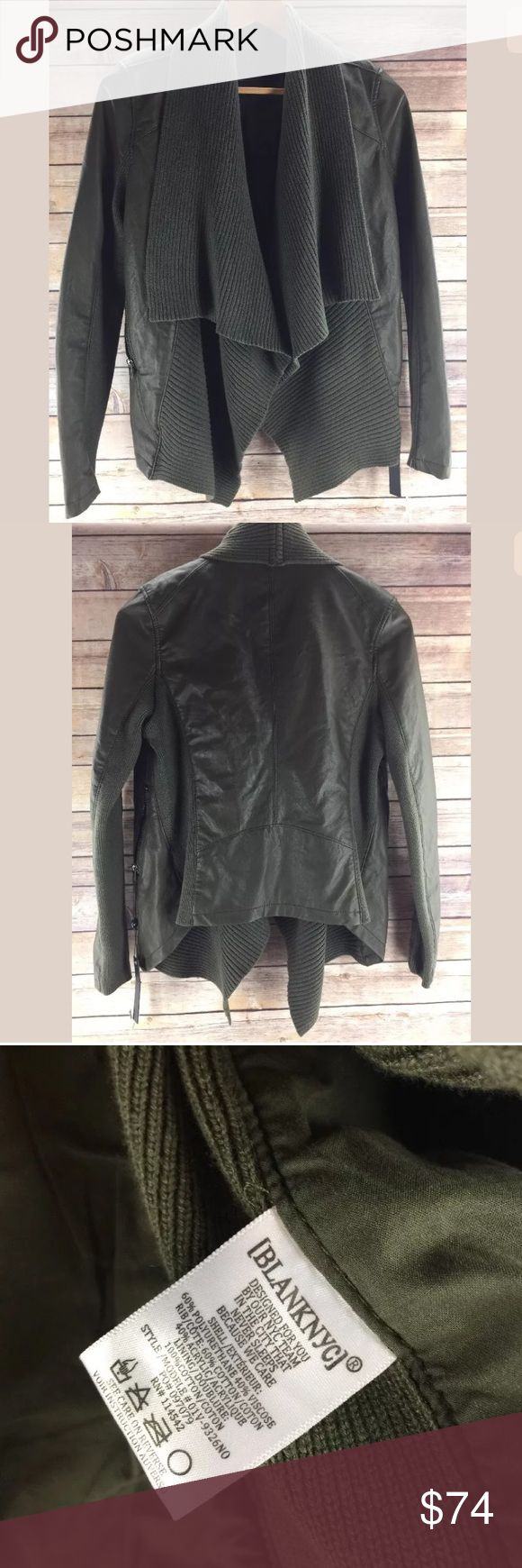 Blank NYC Faux Leather Jacket Green Draped Size S Blank NYC Faux Vegan Leather Jacket Army Green Draped Front Size S third photo shows color best from my device. It's a nice army green. Blank NYC Jackets & Coats