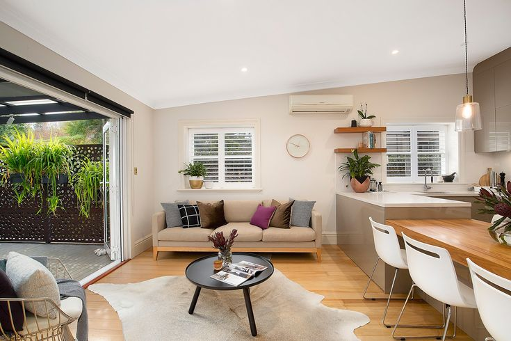 modern living, easy indoor-outdoor entertaining, beautifully renovated home, living area flows to wide entertainment deck, classic home with designer interiors, 16 Mayes Street, Annandale, Pilcher Residential