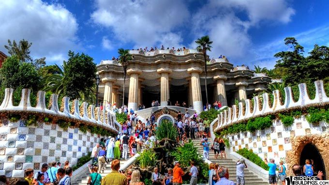 Parc Guell by Antoni Gaudi (a mystic and geomancer), built 1900 - 1914. Barce...