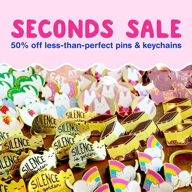 My SECONDS SALE is happening right now! 🎉 Stock is very limited and tends to sell out realIy quickly, so act fast if there's something you've got your eye on! 💖 If you've never participated in a seconds sale before, please note that all of these items will have visible flaws of some kind, such as chipped enamel, marks/scratches, discoloured metal, etc. Thanks so much! 😸💞