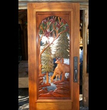 carved deer door & 62 best Doors - Carved u0026 Stained Glass images on Pinterest | Wood ...