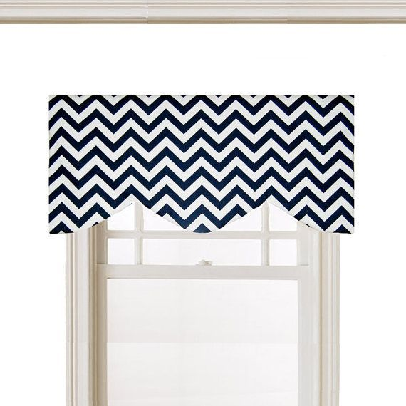 Curved Shaped Valance Window Topper, Navy & White, Chevron