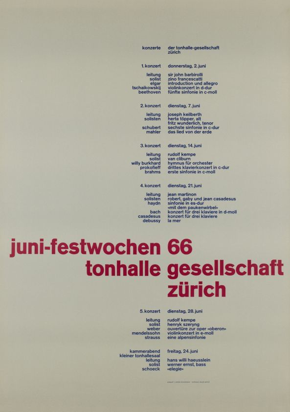 Zürich, Juni-Festwochen Tonhalle gesellschaft _ Josef Muller Brockmann