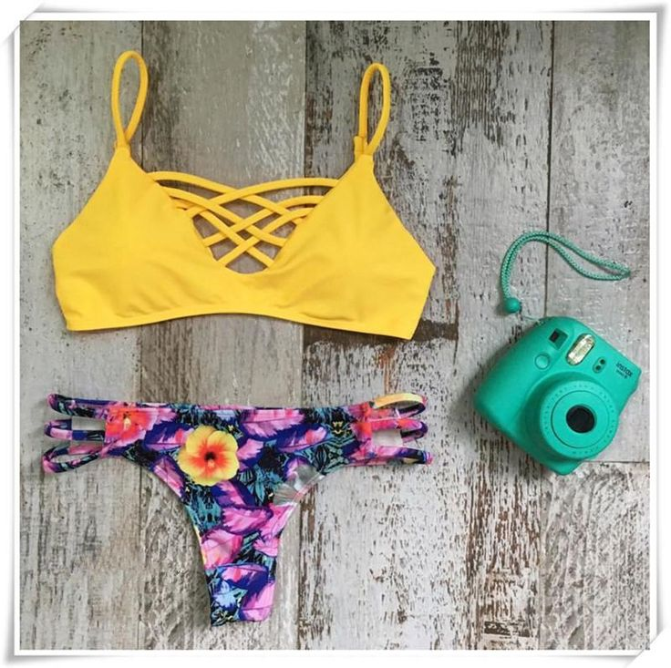 Yellow Lattice Bikini Top and Floral Bottom