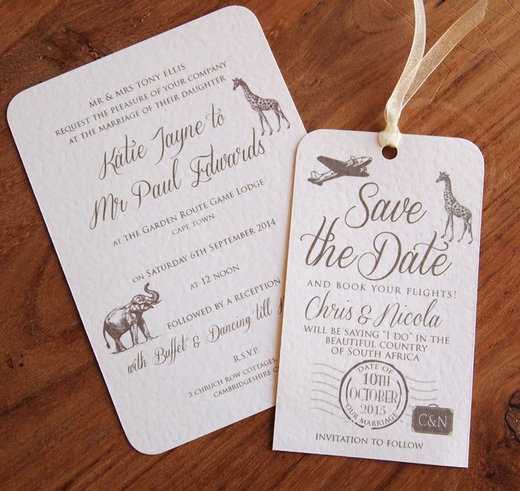 Safari Wedding Invitation and Luggage Label Save